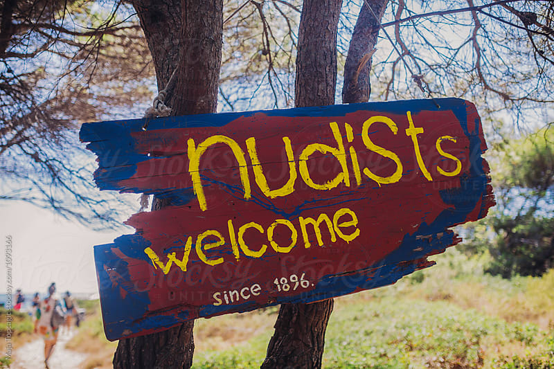Nudists welcome sign by Maja Topcagic for Stocksy United