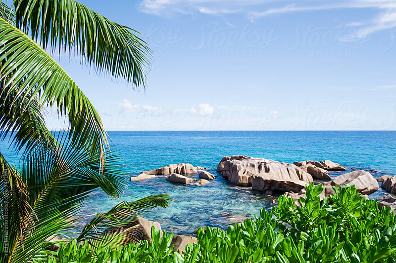 Scenic view of a stretch of sea in La Digue by michela ravasio for Stocksy United
