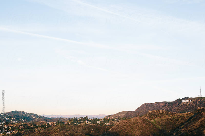 Hollywood sign on hill in Los Angeles by Simone Anne for Stocksy United