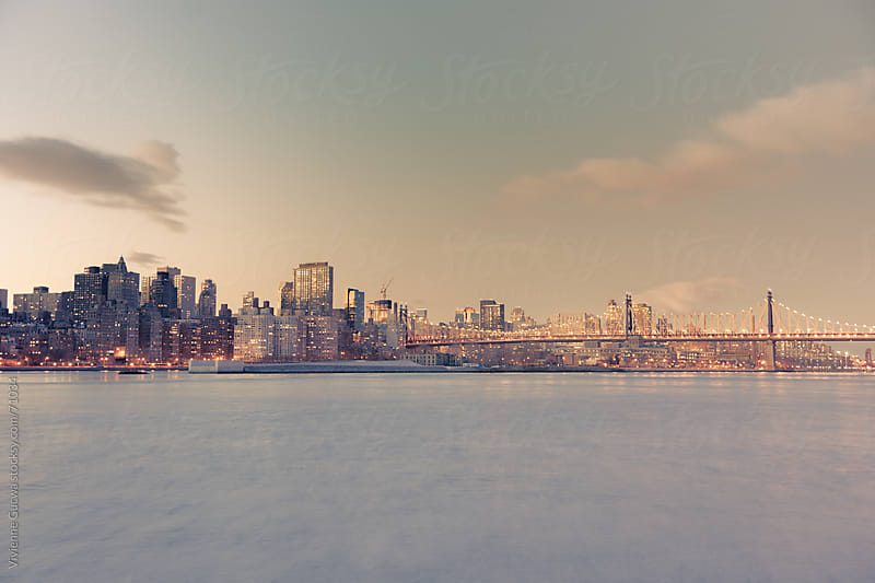 New York City Skyline and Queensboro Bridge - Dusk by Vivienne Gucwa for Stocksy United