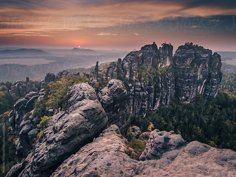 Rock Formation Schrammsteine at Sunset by Andreas Wonisch for Stocksy United