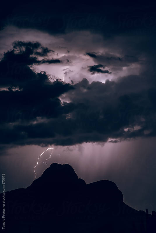 Lightning Storm On Mountain by Tamara Pruessner for Stocksy United