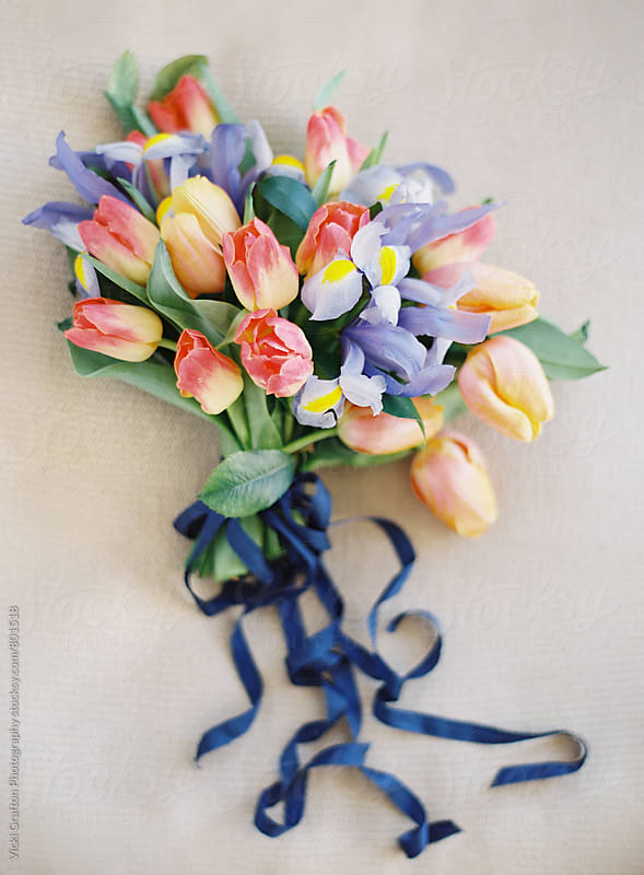 Lily and Tulip Spring Bouquet  by Vicki Grafton Photography for Stocksy United