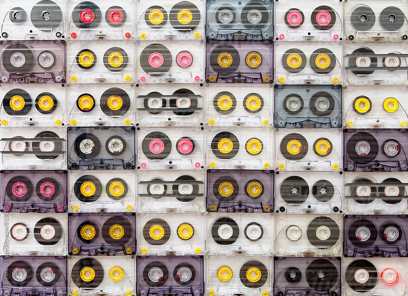 Colorful cassette tapes from above by Pixel Stories for Stocksy United