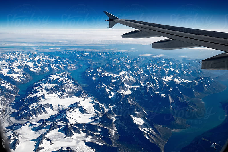 Aerial View of Greenland from Airplane Window by Jeff Wasserman for Stocksy United