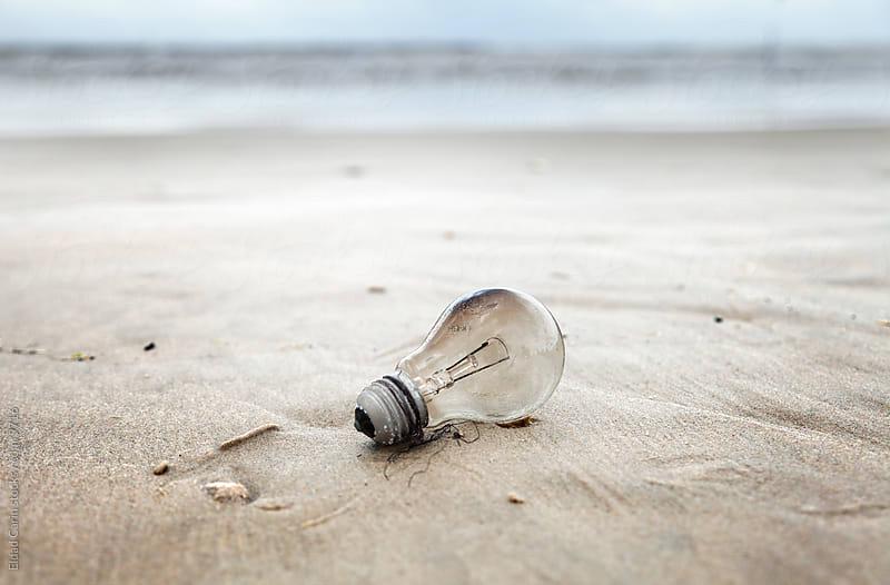 Burnt Light Bulb on a Beach - Environment by Eldad Carin for Stocksy United