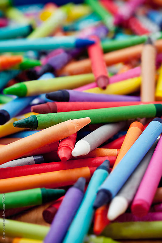 Crayons: Messy Pile of Colorful Crayons by Sean Locke for Stocksy United
