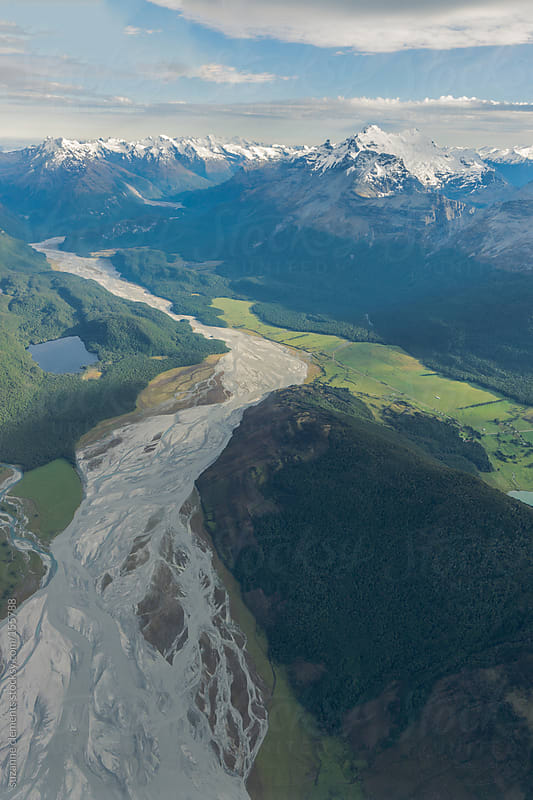 View of the Von River and Southern Alpine Mountains from Above by suzanne clements for Stocksy United