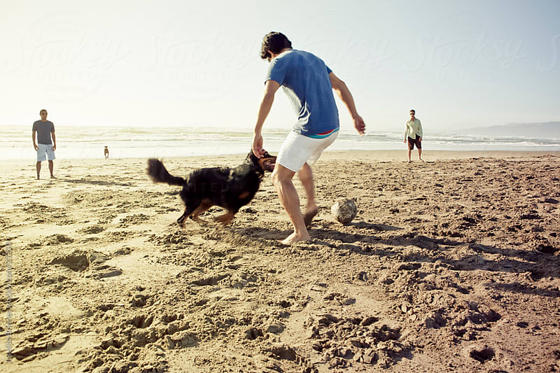 Men Playing Beach Football with Pet Dog by Joselito Briones for Stocksy United