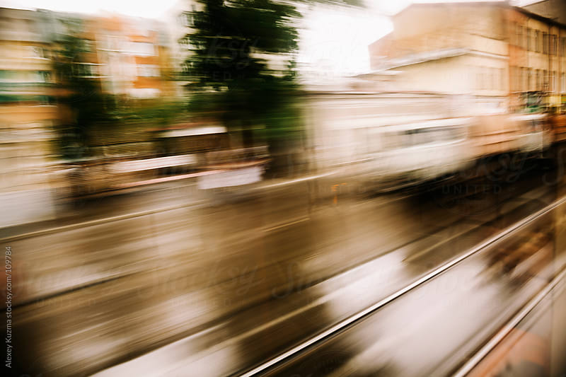 Motion blurred view from the tram by Alexey Kuzma for Stocksy United