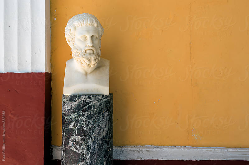 Bust of Sophocles in the Achilleion Corfu Greece. by Paul Phillips for Stocksy United