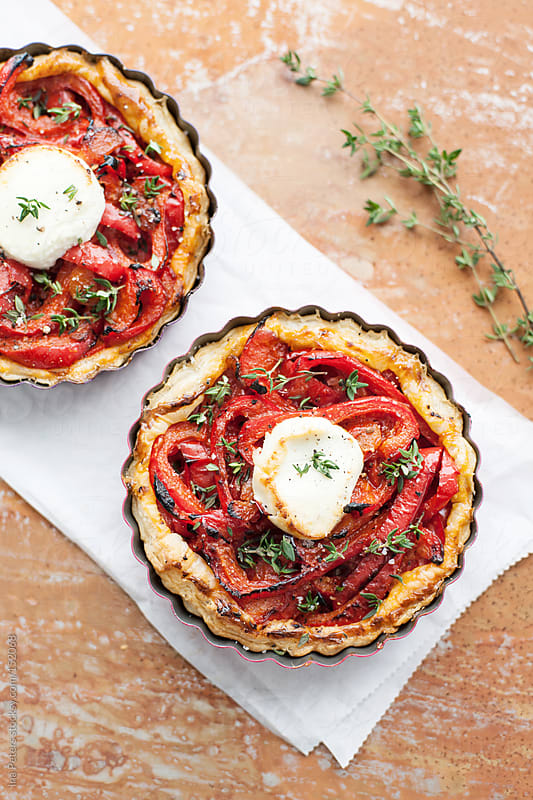 Food: Tartes with Grilled Bell Pepper and Goat Cheese by Ina Peters for Stocksy United