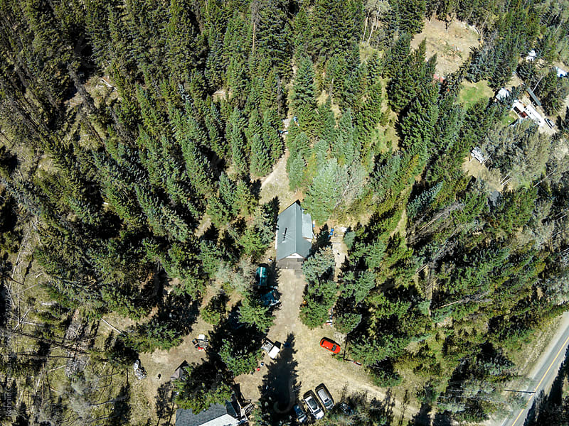 Cabin In The Woods - From Above by Ronnie Comeau for Stocksy United