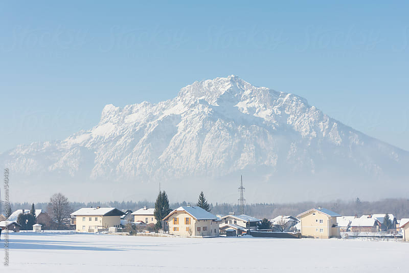 Winter landscape with mountain Untersberg  in Elsbethen, near Salzburg, austria by Robert Kohlhuber for Stocksy United