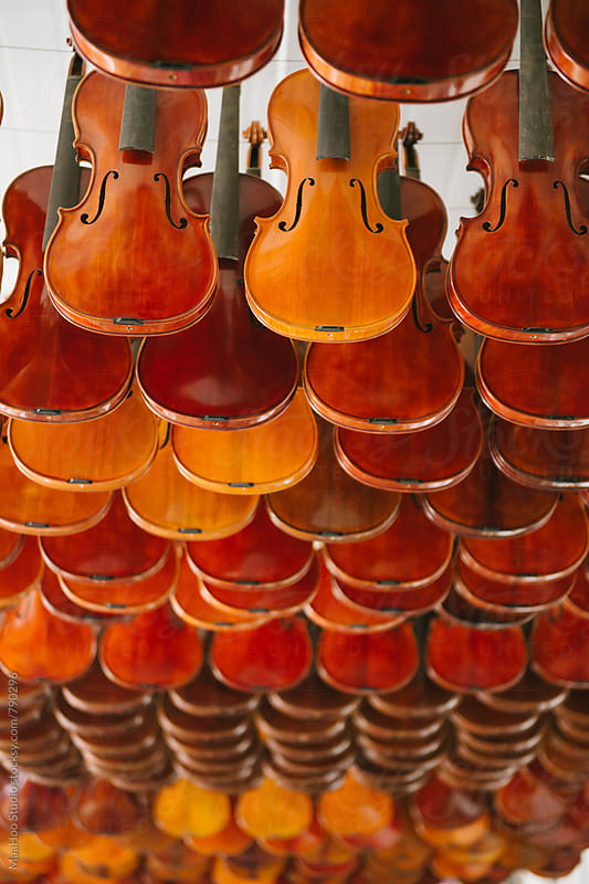 Unfinished violins without strings in a workshop by MaaHoo Studio for Stocksy United