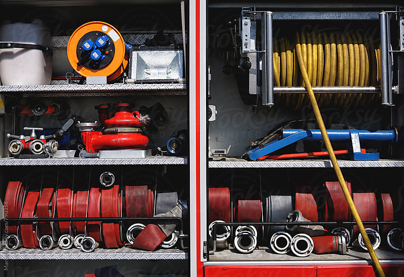 Equipment in a fire truck by Marcel for Stocksy United