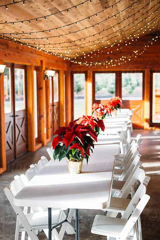 Tables In Winter Lodge Dining Hall Decorated With Christmas Lights And Poinsettia by Luke Mattson for Stocksy United