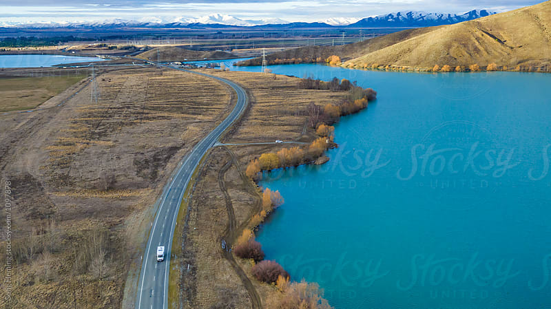 Beautiful aerial view of  country road by Song Heming for Stocksy United