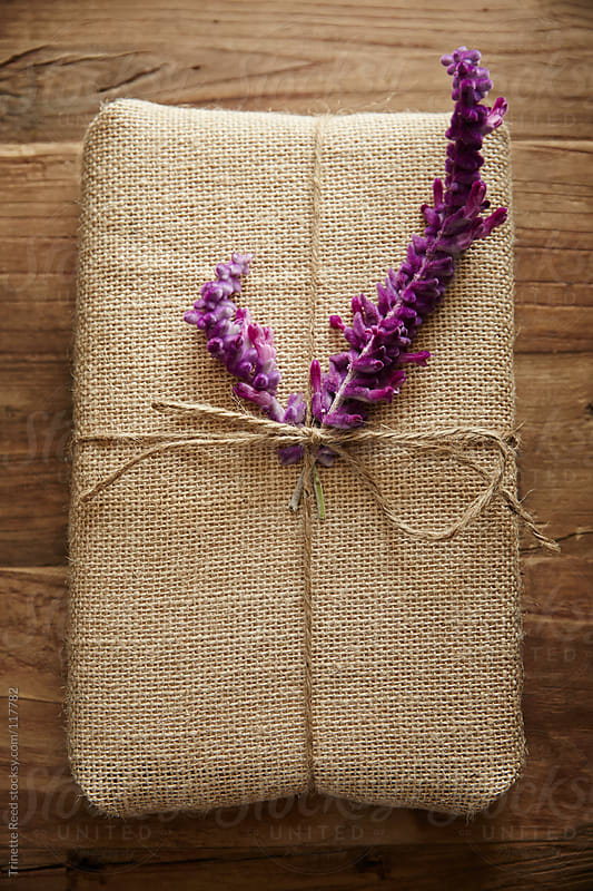 Still life of burlap wrapped present with purple flower by Trinette Reed for Stocksy United