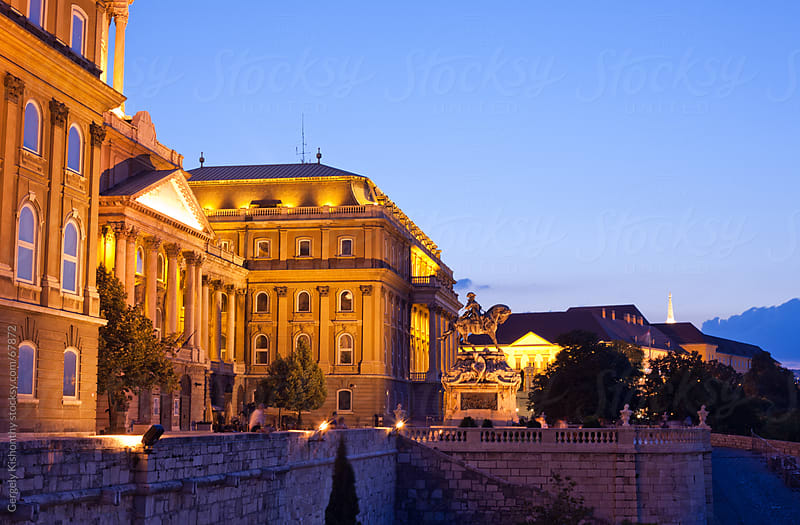 Buda Castle at night. by Gergely Kishonthy for Stocksy United