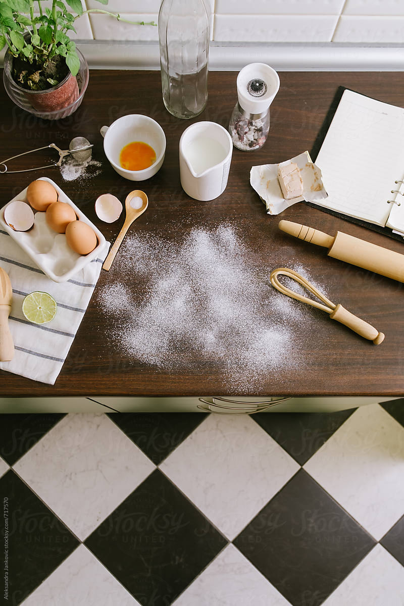 Baking Supplies on the Kitchen Counter by Aleksandra ...