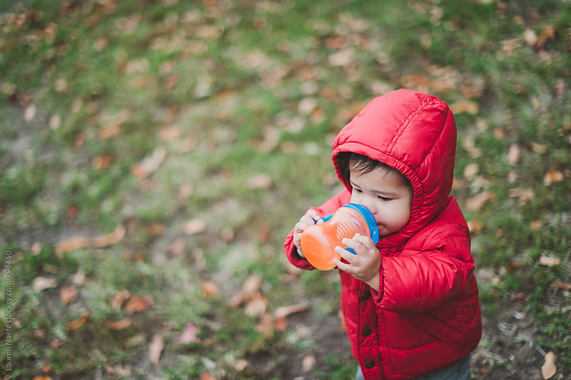 Toddler drinking out of sippy cup by Lauren Naefe for Stocksy United
