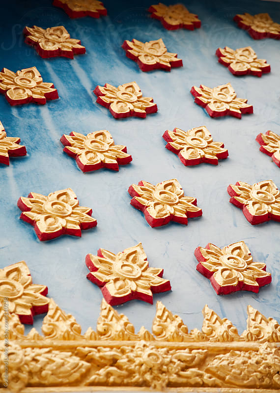 Detail of a Thai Buddhist Temple Decoration by Goldmund Lukic for Stocksy United