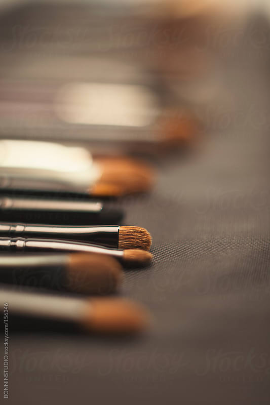 Close up of makeup brushes set. Selective focus. by BONNINSTUDIO for Stocksy United