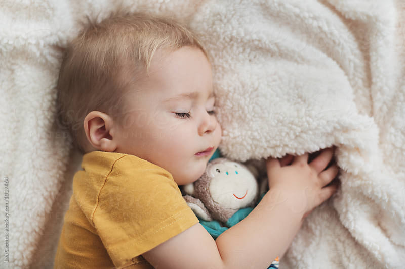 Little boy hugging his comfort toy while napping by Lea Csontos for Stocksy United