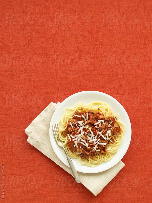 Spaghetti on Red by Jill Chen for Stocksy United