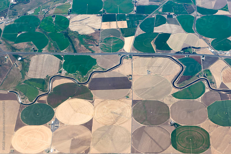 Aerial image of crop fields by RG&B Images for Stocksy United