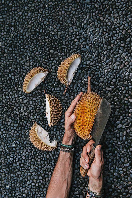 Durian Fruit Cut And Preparation by Alexander Grabchilev for Stocksy United