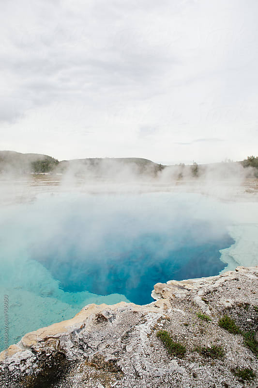 View of blue hot spring in Yellowstone National Park by michela ravasio for Stocksy United