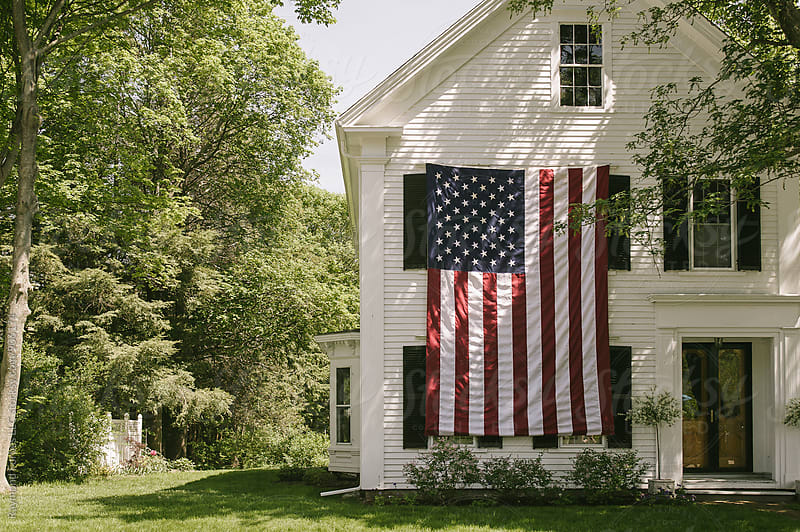 American Flag on Home 4th of July Celebration by Raymond Forbes LLC for Stocksy United