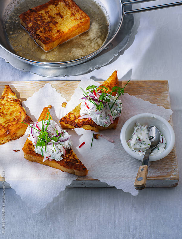French toast with herb and ricotta by J.R. PHOTOGRAPHY for Stocksy United