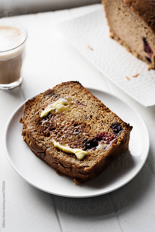 banana bread with blueberries, by Gillian Vann for Stocksy United