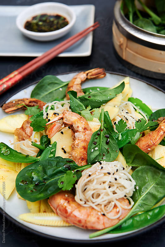 Asian inspired fresh prawn salad prawn salad by Daxiao Productions for Stocksy United
