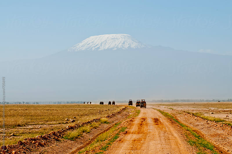 4x4 line of cars on a road with background Kilimanjaro by Marta Muñoz-Calero Calderon for Stocksy United