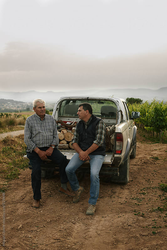 Father and son taking a break on the back of a pickup parked in the vineyards by Miquel Llonch for Stocksy United