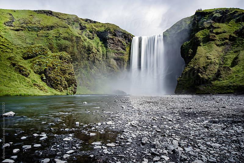 Icelandic waterfall Skogafoss by Andreas Gradin for Stocksy United