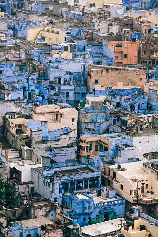 Blue houses and buildings in Jodhpur, India by Alejandro Moreno de Carlos for Stocksy United