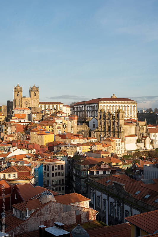 Views of the old town of Oporto at sunset by Bisual Studio for Stocksy United