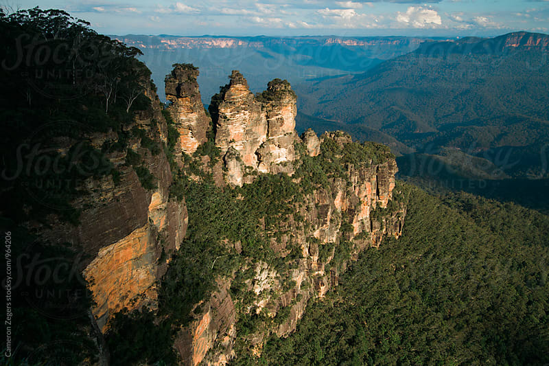 Three Sisters rock formation at Blue Mountains National Park, Australia by Cameron Zegers for Stocksy United