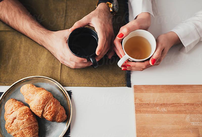 Caucasian Couple Having Tea by Lumina for Stocksy United