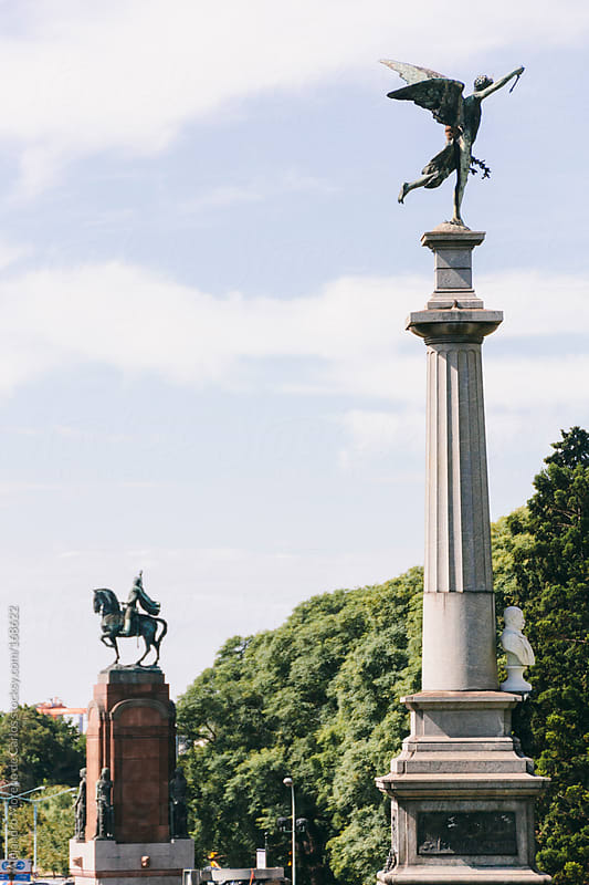 Buenos Aires city monuments: horse and angel in Argentina by Alejandro Moreno de Carlos for Stocksy United
