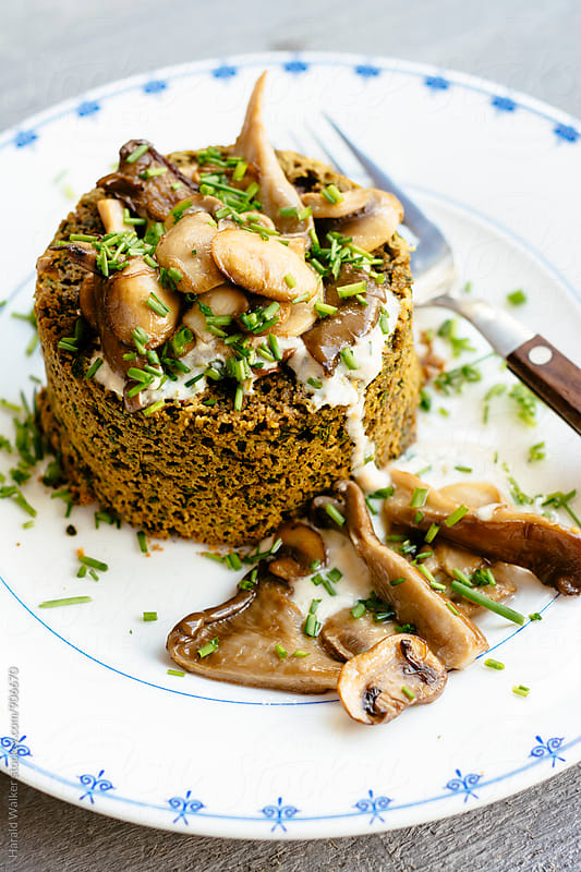 Mushroom Ragout in Spinach Tartlettes by Harald Walker for Stocksy United