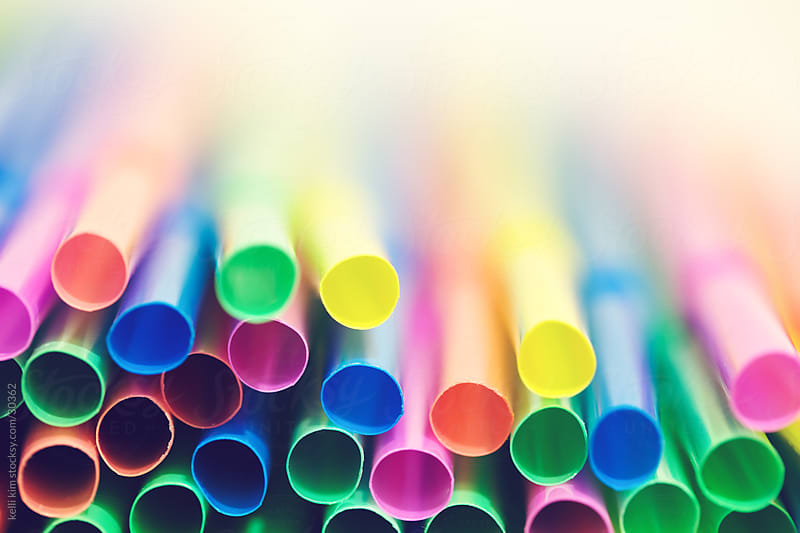 Closeup Image of Pastel Colored Straws by kelli kim for Stocksy United