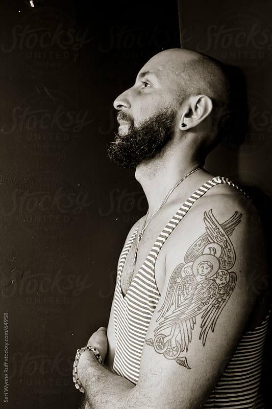 Black and White Man Portrait by Sari Wynne Ruff for Stocksy United