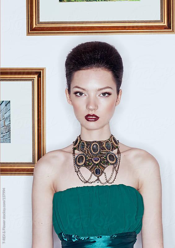 Portrait of beautiful brunette woman by T-REX & Flower for Stocksy United