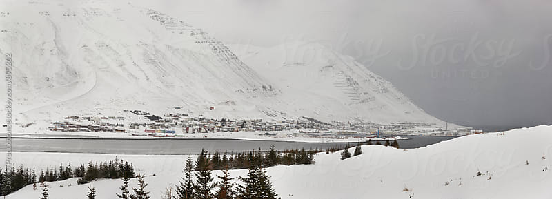 Iceland town in covered in snow by Daxiao Productions for Stocksy United